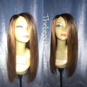Malaysian straight 20 inches honey blonde wig
